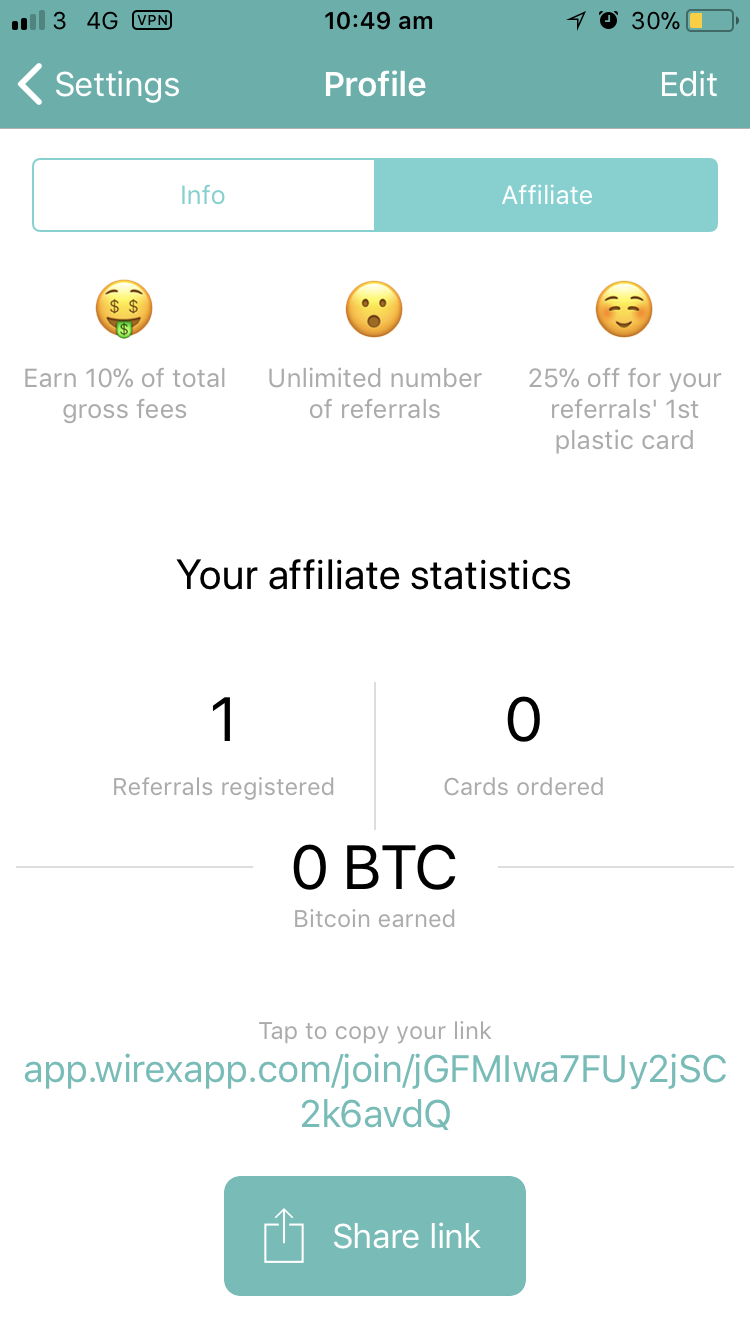 The affiliate page on the wirex app