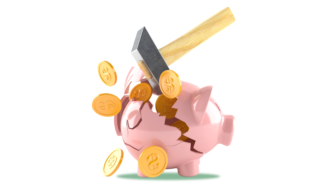 Piggy-bank being smashed with hammer