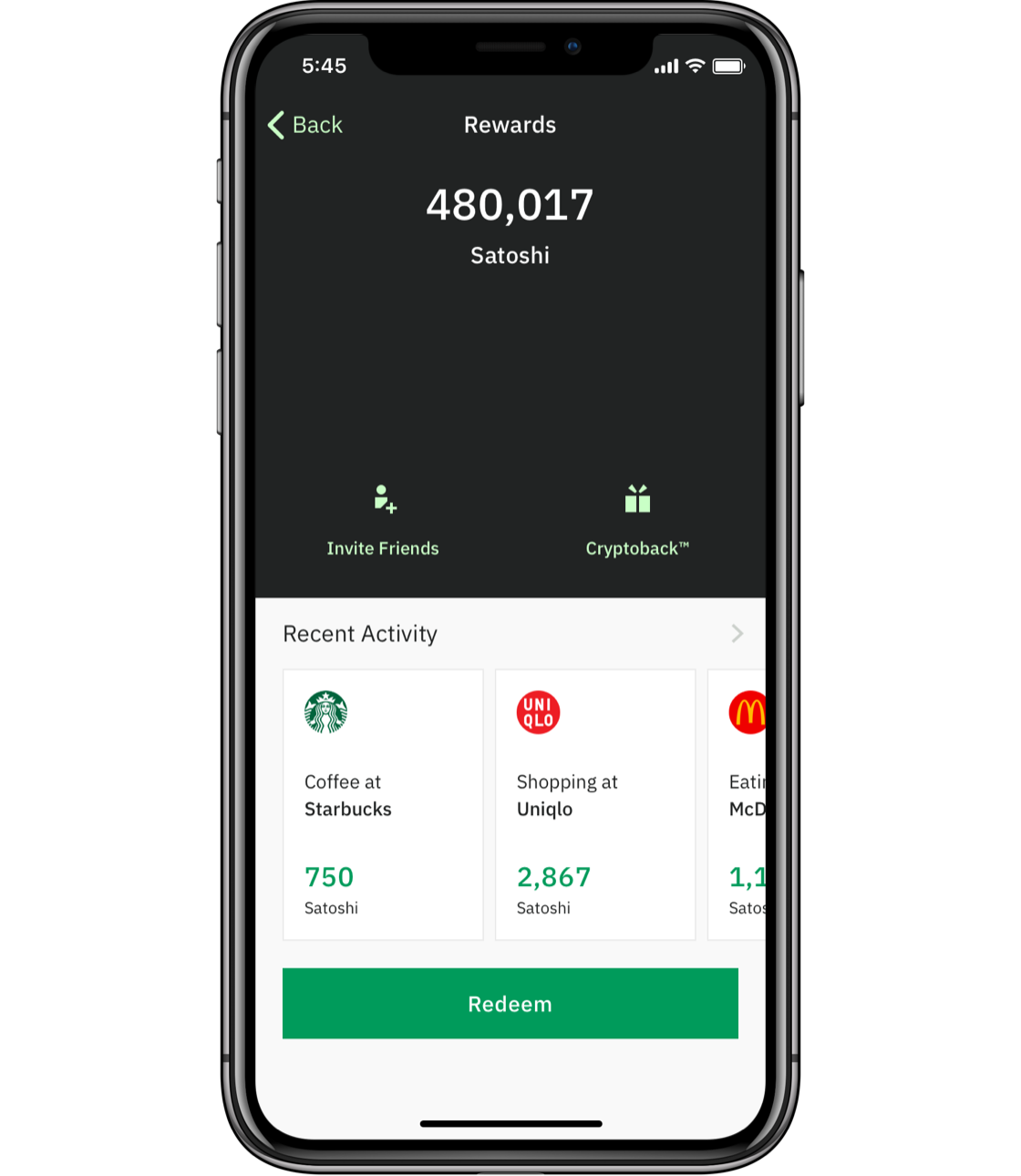 Wirex application screen that reflects Cryptoback feature
