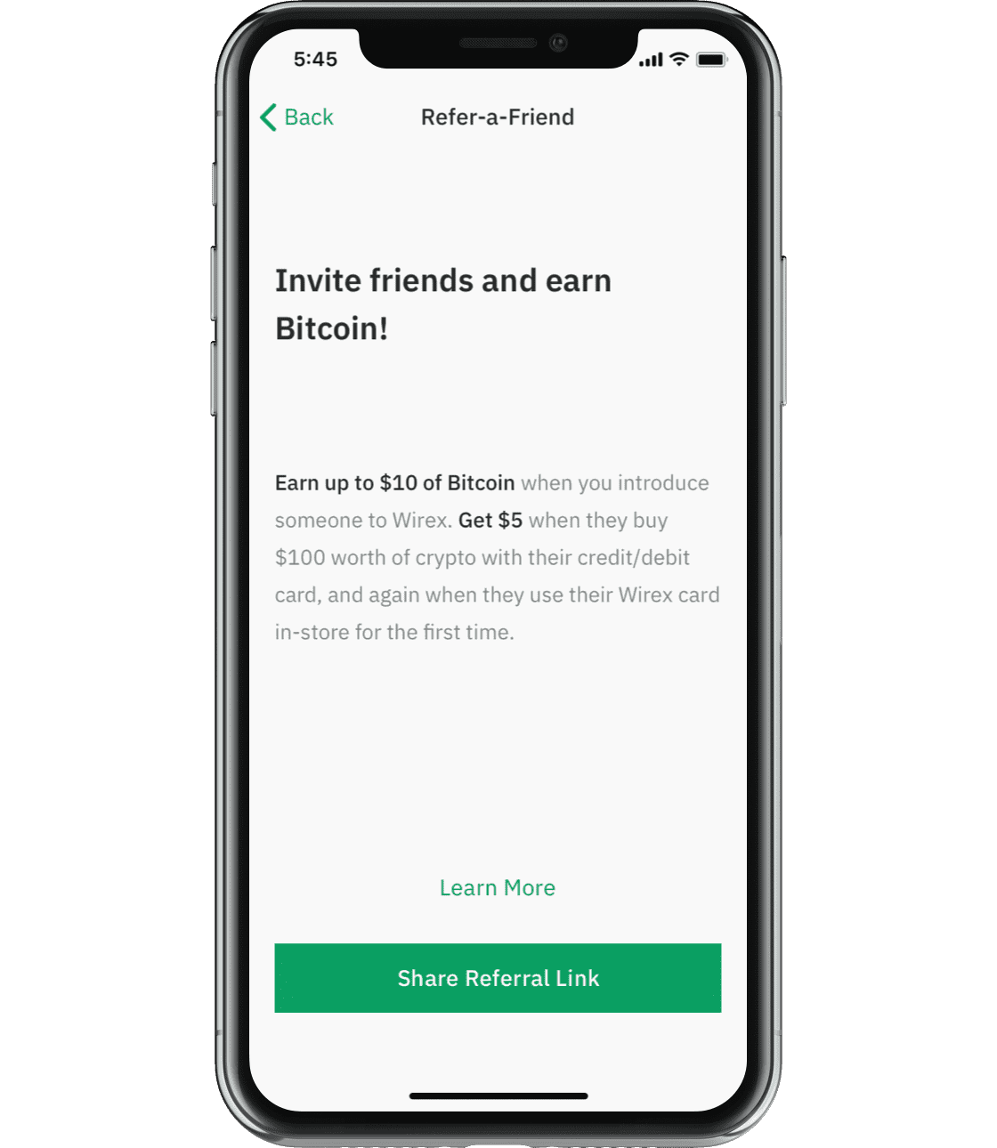Wirex application screen that reflects refer a friend option