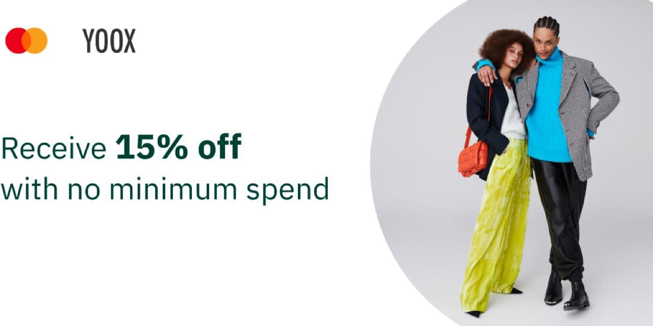 YOOX 15% off with no minimum spend